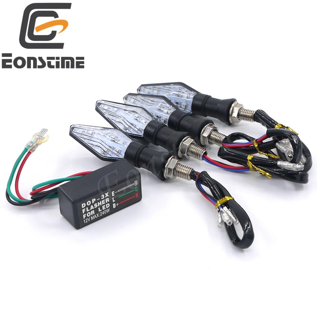 Eonstime Flashing Motorcycle LED Turn Signal Light 12Led Indicator Light Blue&Amber Blinker Light 4pcs LED+1pcs Flasher Relay
