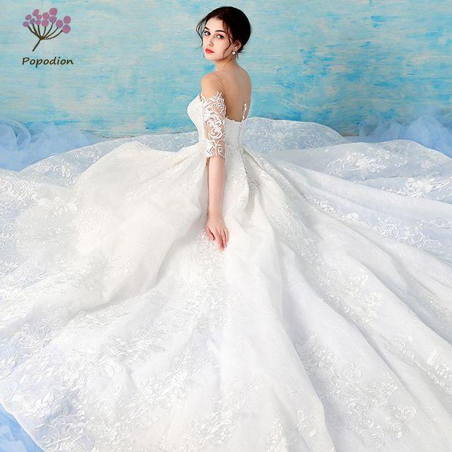 R 133955 46 De Descontopopodion Meia Manga Rendas Vestido De Casamento De Luxo Vestido De Noiva Vestido De Noiva Vestido De Noiva Wed90444 Em