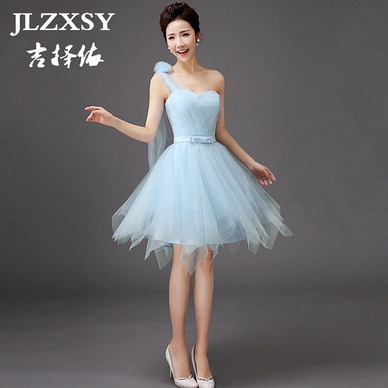 Jlzxsy 2017 new sky blue dress for bridesmaid a line short for Cheap wedding party dresses