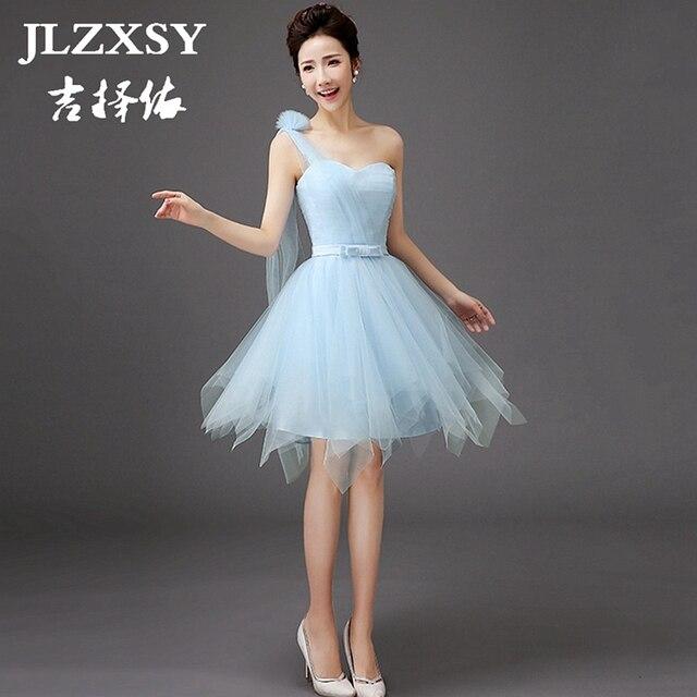 Jlzxsy 2017 New Sky Blue Dress For Bridesmaid A Line Short Wedding Party Dresses