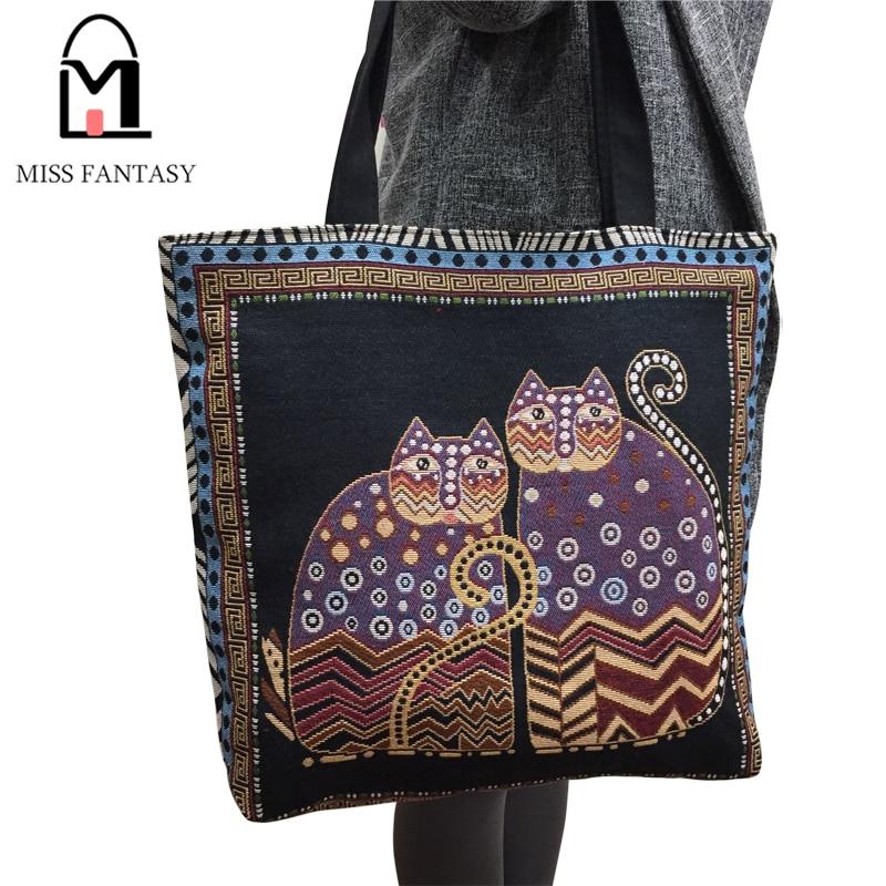 Women Bag Canvas Handbag Fashion Vintage Tote Bag Lady's Lovely Cat Print Shopping Bag Holiday Travel Single Shoulder Bag 2017