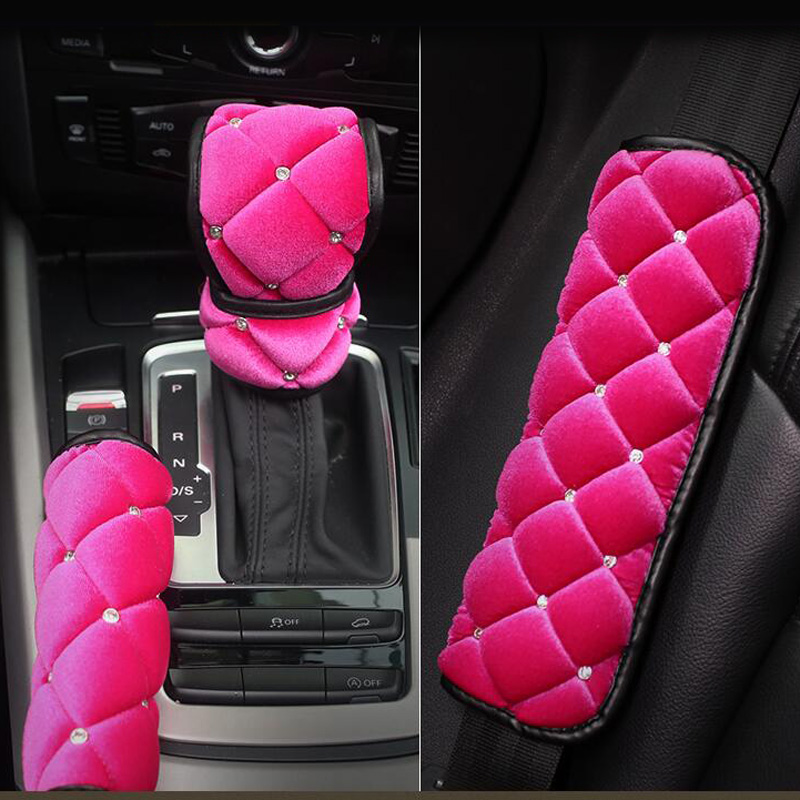 High Quality Cute Crystal Plush Car Safety Seat Belt Cover Soft Shoulder Pad Hand Brake Gear Shift Cover Interior Accessories