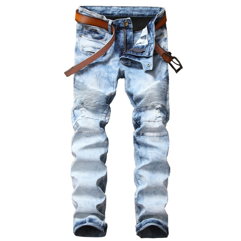 Hipster Mens Jeans Slim Straight Side Pockets Hole Ripped Jeans Men Vintage Designer Male Denim Pants Casual Trouser Hip Hop 2017 ripped straight jeans men slim fit zipper jeans men s hole denim fabric hip hop skinny cotton white blick pants casual mens