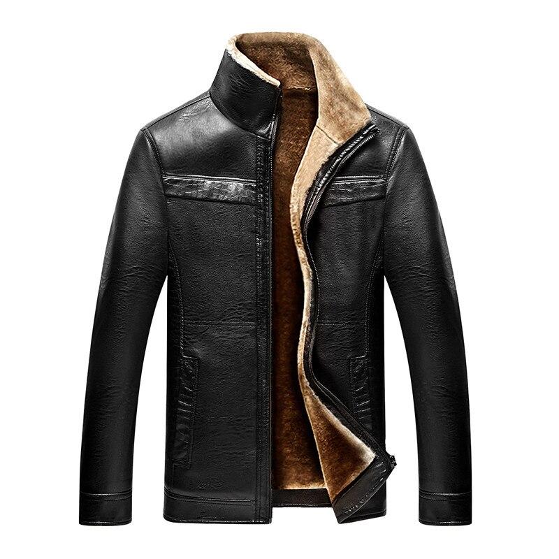 Hot Autumn And Winter Quality Men's Leather Jackets Warm Jacket Business Casual Coat Garment Plus velvet Men's coat motorcycle