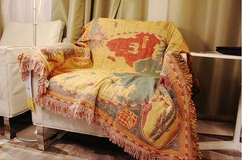 nostalgic world map Decorative 100% Cotton Woven Throw Thread Blanket Towel Couch Sofa Cover 51X66in (World Map)