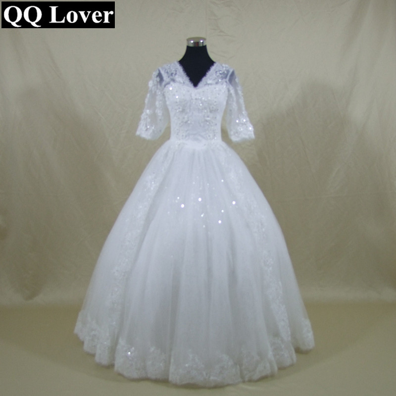 QQ Lover New Half Sleeves Flowers Beaded Ball font b Gown b font font b Wedding