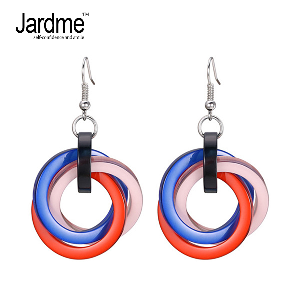 Jardme Multicolors Acrylic Drop Earrings for Women Round Earrings 2018 New Design Party Gift Jewelry Dropshipping metal hand design drop earrings