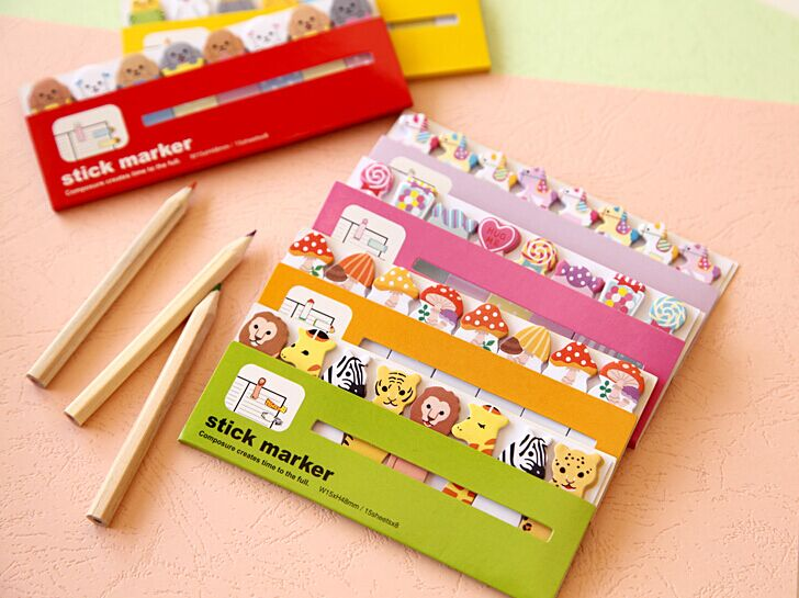 Kawaii cartoon Candy Color Animals memo pad Post It Note Paper bookmark for Kids Creative Gift korean papelaria