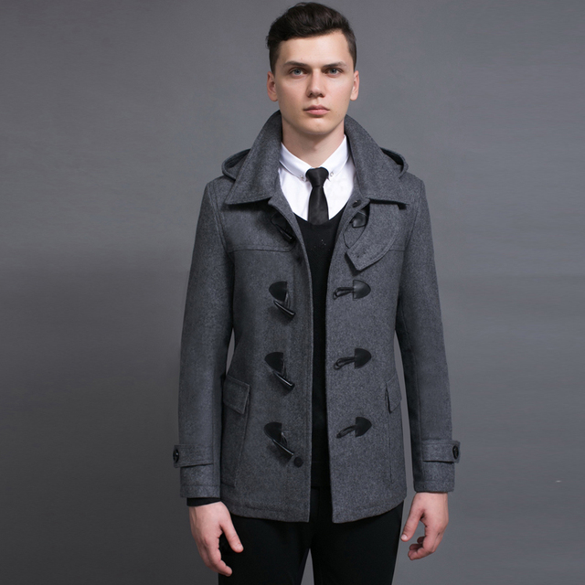 52a4e28d9c8 Luxury Brand Male Woolen Overcoat Fashion Detachable Cap Horn Button  Vintage Coats Wool Pea Coat Grey