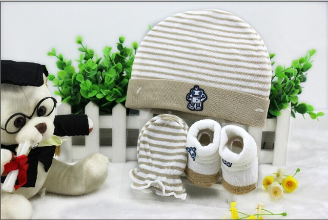 combination 3 pcs set cotton newborn baby hats for autumn and winter with  gloves and socks unisex infant caps mittens b02e8751af0