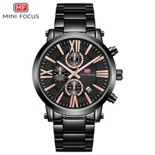 MINI FOCUS Mens Business Quartz Watches Stainless Steel Chronograph Waterproof Army Wristwatch Man Relogios Clock 0219G Black