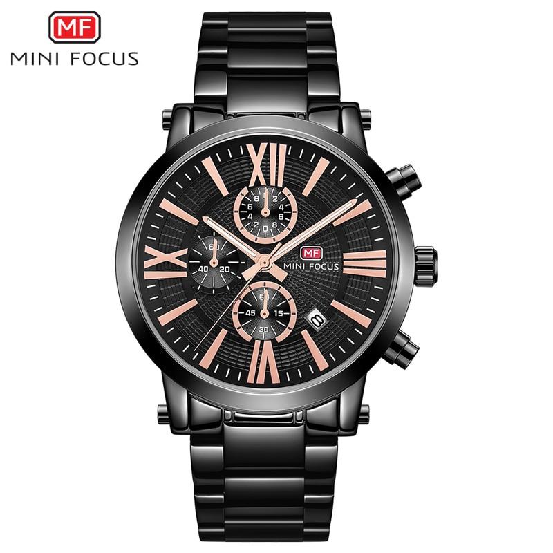 Foco do Negócio dos Homens Homens de Quartzo Homem do Exército Relógio de Pulso Cronógrafo de Aço Mini de Quartzo Relógios Relogios Relógio Inoxidável Relógio à Prova d' Água 0219g Preto