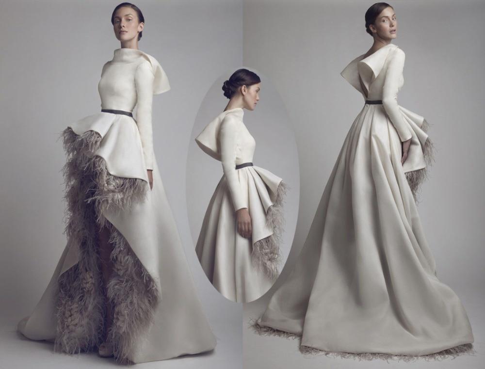 Ashi Studio Saudi Arabia Dress Feather Short Front Long Back Satin ...