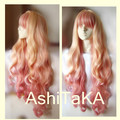 New high quality  Free Shipping  Sheryl Nome Long Wavy  Blonde Mix Pink  Hair Full Lace Wigs  Cosplay Wig
