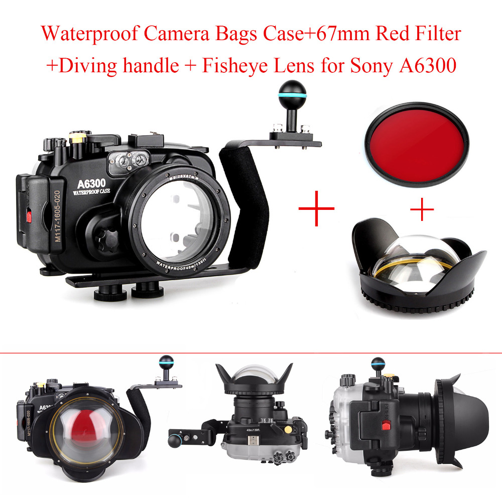 Meikon 40m/130ft Waterproof Underwater Camera Housing Case for Sony A6300 + Aluminium handle + 67mm Fisheye Lens + Red Filter meikon 40m 130ft underwater camera waterproof housing case for canon g7x 67mm round dome port fisheye two hands housing tray