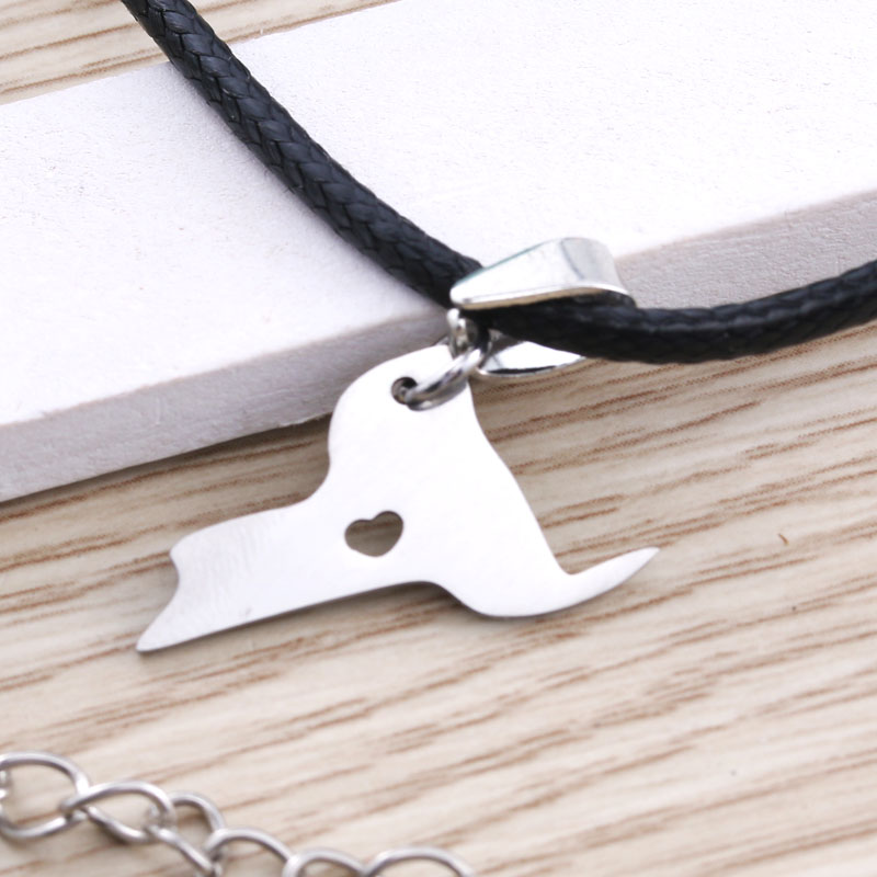 United States New York Charm Stainless Steel Map Pendant Leather Necklace Jewelry Metal Silver Necklace