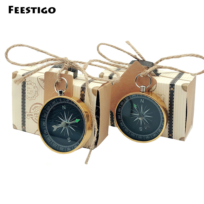 10 Sets Novelty Party Favors Travel Themed Wedding Candy Box Compass Gifts For Guests Birthday Wedding Souvenir Centerpieces