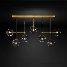 Postmodernistyczny żyrandol LED sufit salon światła wiszące wyposażenie domu Nordic jadalnia lampy wiszące oświetlenie szklane kulki