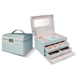 Korean Style Jewelry Box Casket PU Storage Box For Jewelry Makeup Case Jewelry Organizer Container Boxes Wedding Birthday Gift
