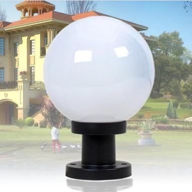 Villa Wall Pillar Lights Waterproof Ball Acrylic Lampshade 20cm Outdoor Garden Lamps Column Head Landscape
