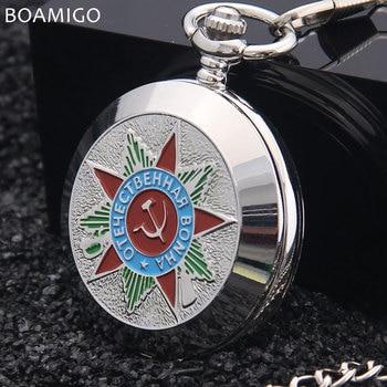 504c2bbd2a42 Boamigo Rusia vingtage plata soviética bolchevique mecánica FOB reloj de bolsillo  para hombre Militar colgante cadena del envío gratis