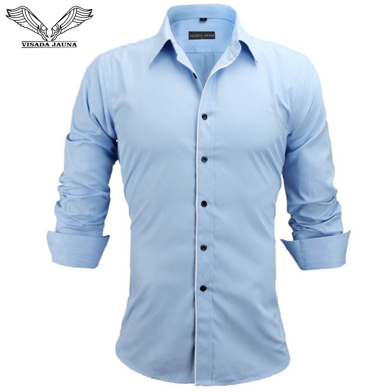 VISADA JAUNA Európa méret férfi ing 2017 új stílus ingek férfiak egyszínű hosszú ujjú üzleti pamut ruha ingek N829