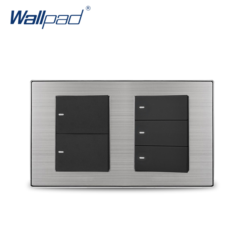 2018 Wallpad 5 Gang Reset Momentary Contact Switch Wall Light Switch Satin Metal Panel 160*86mm цена и фото