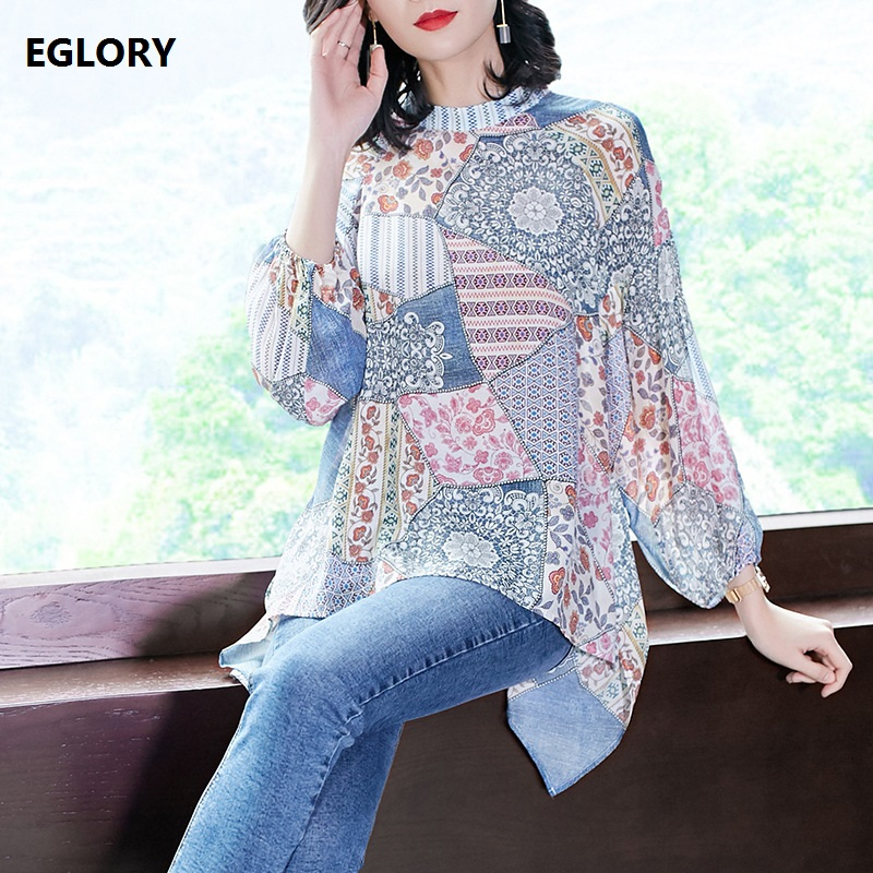 100% National Silk Tops Women O-Neck Ethnic Prints Batwing Sleeve Sexy Front Short Back Long Casual Loose Tops Tee Female TShirt batwing sleeve back cutout cropped tee