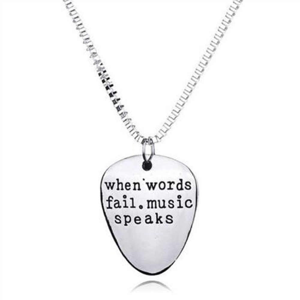 """1 pcs Unisex Stainless Steel Letters Pendant Necklace """"When Words Fail Music Speaks"""" Guitar Pick Pendants Couples Necklaces"""
