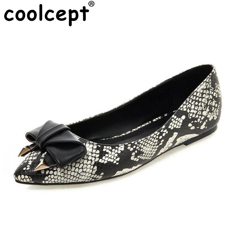 Coolcept Women Snakeskin Pattern Flats Shoes Sexy Bowknot Pointed Toe Shoes Flat Women Daily Leisure Party Footwear Size 34-39 meotina women flat shoes ankle strap flats pointed toe ballet shoes two piece ladies flats beading causal shoes beige size 34 43