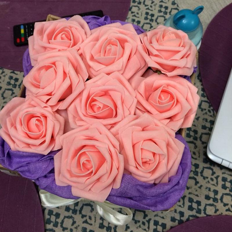 1 Bouquet 10 Cabezas Artificial Rose Flor de La Boda Novia Ramo PE Espuma de BRICOLAJE Home Decor Flores Color de Rosa VB364 P20