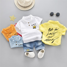 2019 Summer style Children clothing sets Baby boys girls t shirts+shorts pants sports suit kids clothes letter short sleeves new kids tales jyt 180 baby boy clothes children kids boys long sleeves handsome suit sets casual design t shirts and pants wears