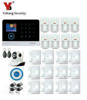 Yobang Security WIFI APP Control Camera Surveillance 3G Home Alarm System GPRS SMS Alarmes Wireless Blue Siren Motion Alarm Kit
