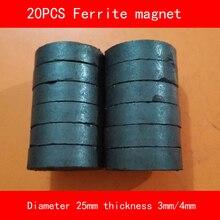20PCS diameter 25mm thickness 3mm 4mm work temperature -40 to +220 Celsius circular black Ferrite Magnet