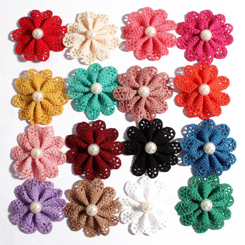 120pcs/lot 5.5cm 16colors Hair Clips Hair Flower Accessories With Pearl For Wedding Artificial Fabric Flowers For DIY Headbands