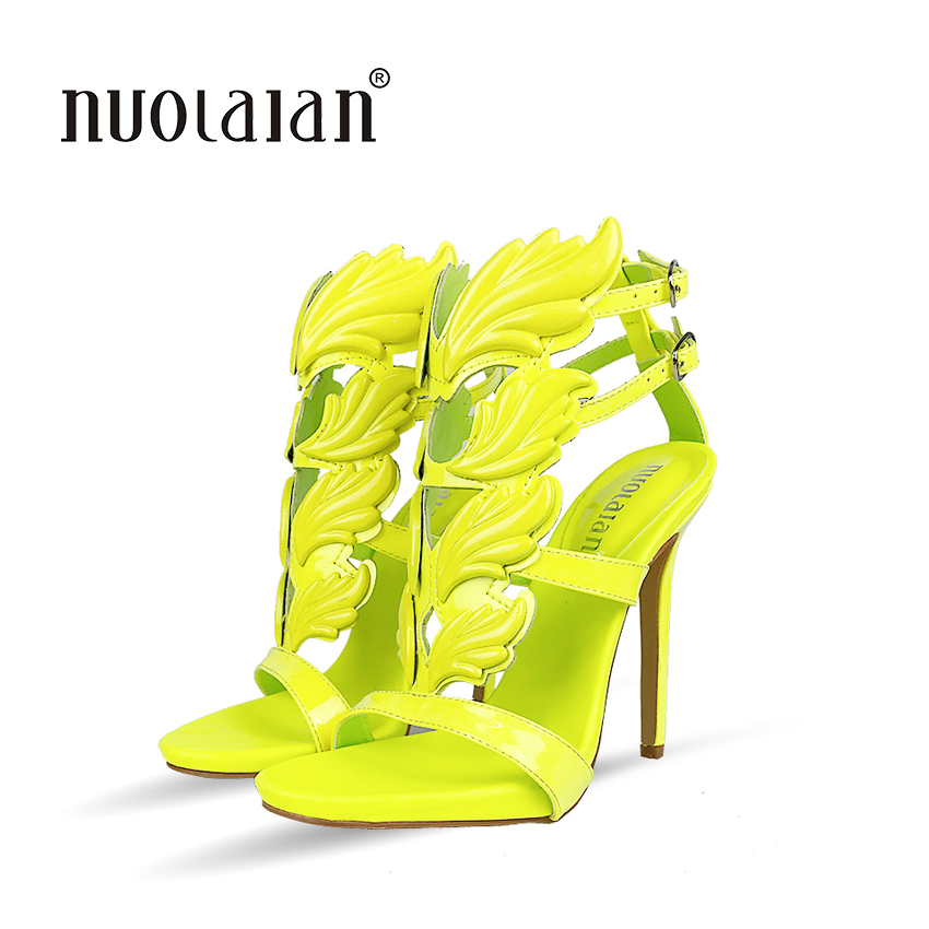 Metallic Winged Gladiator Women Sandals 2018 High Heels Brand Sandals Summer Shoes Woman Sandalias Ladies Party Shoes Pumps hottest golden metallic leather wing sandals silver gold red gladiator high heels shoes women metallic winged sandals