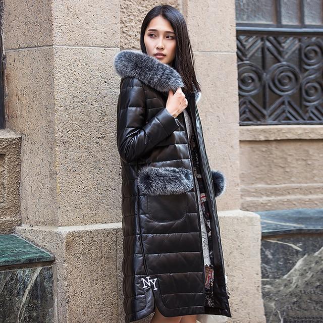 Зима женщины длинные Кожаные Пуховики пальто Черный Подлинная кожа Овчины мех Лисы шляпа пакет тонкий леди куртка пуховая куртка