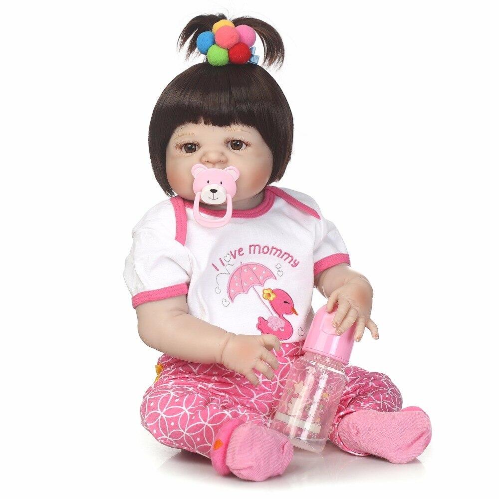 где купить 55cm Full Silicone Reborn Baby Doll Toys Lifelike Newborn Princess Toddler Girl Babies Doll Cute Birthday Gift Bathe Toy по лучшей цене