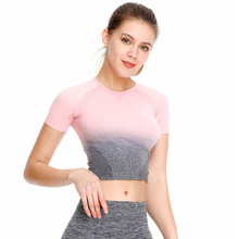 2019 New Style Seamless Gradient Top Cross-Border Yoga Clothes Female Gym Fitness Movement Fashion Short Sleeve T-shirt
