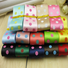 YY DIY 14 DOT PRINTING COLORS Shining POLY Ribbon Rib Belt 2.5cm Width Tape DIY decorative border GOOD QUALITY smooth ELEGANT