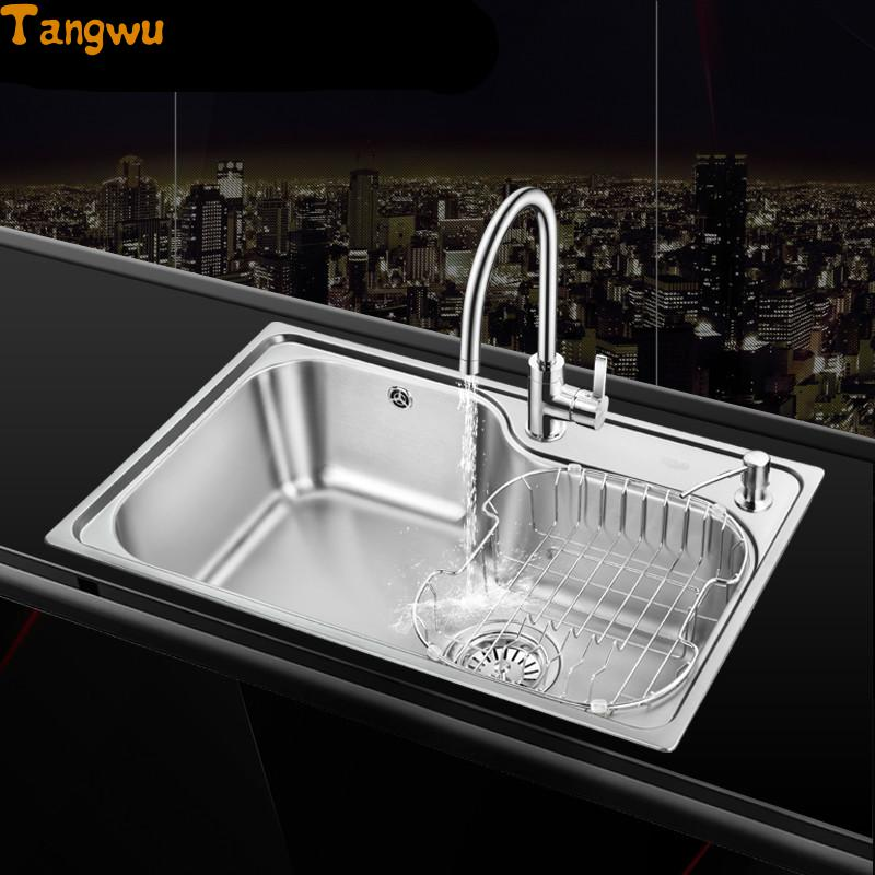 Free Shipping Single Trough Sink 304 Stainless Steel Kitchen Sinks  Vegetable Wash Basin(China (