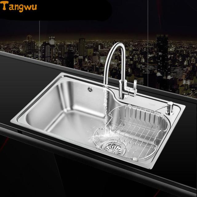 Free shipping single trough sink 304 stainless steel kitchen sinks  vegetable wash basin
