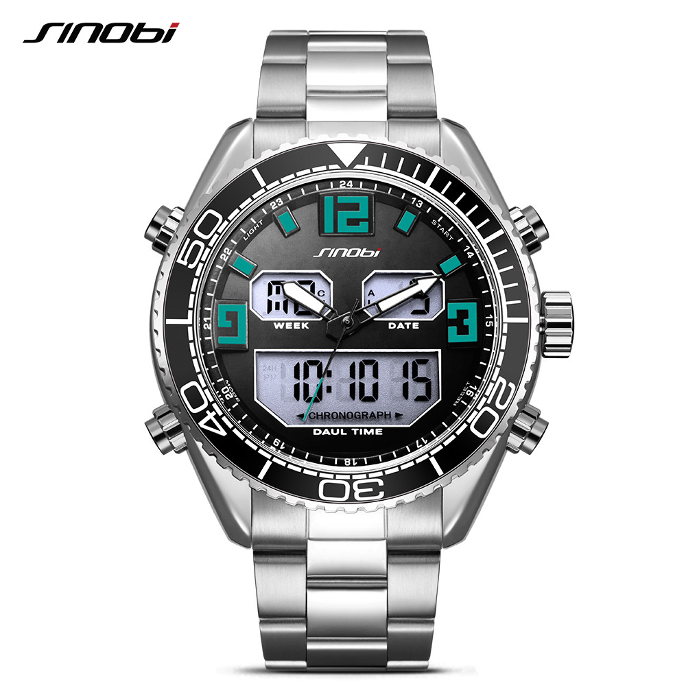 Sinobi Alarm Mens Watches Top Brand Luxury Men's Quartz LED Digital Watch Waterproof Sport Military Watch Men Relogio Masculino sinobi men s top luxury brand sport watches men led digital waterproof stainess steel quartz watch man clock relogio masculino