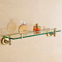 Free Shipping Golden Brass Bathroom Shelf Wall Mount Storage Holder Cosmetic Caddy Shelf Bathroom Accessories OG