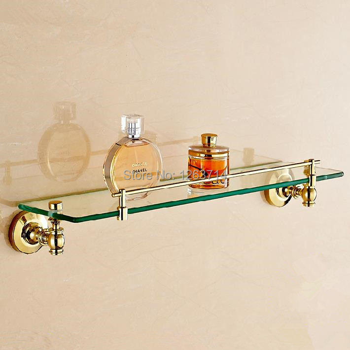 Free Shipping! Golden Brass Bathroom Shelf Wall Mount Storage Holder Cosmetic Caddy Shelf Bathroom Accessories OG-25853C free shipping ba9105 bathroom accessories brass black bronze toilet paper holder