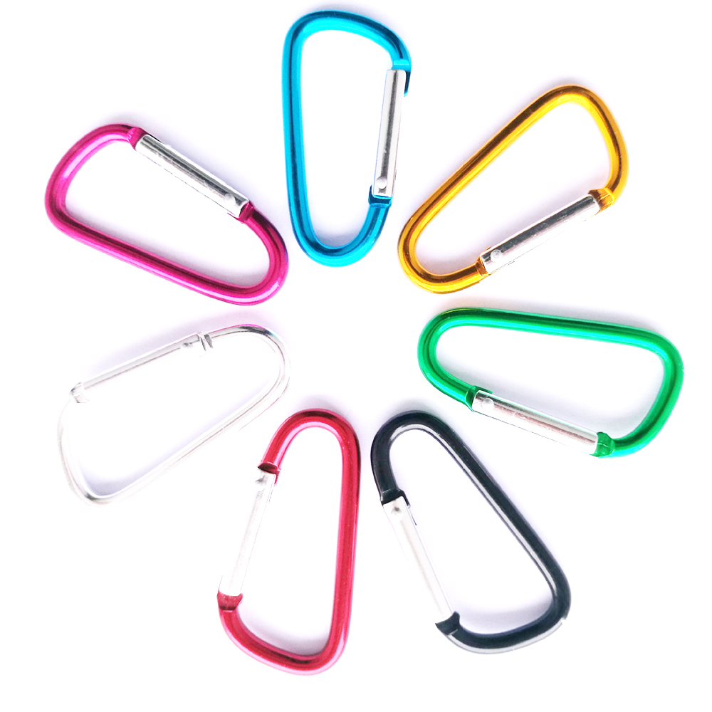 1pcs Plastic EDC Keychain Clip Carabiner Hiking Buckle Split Mini Spring Clasps Hook Carabiner
