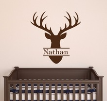 Head Style Custom Boy Name Wall Sticker Vinyl Art Design Poster Mural Cute Deer Bedroom Decor W63