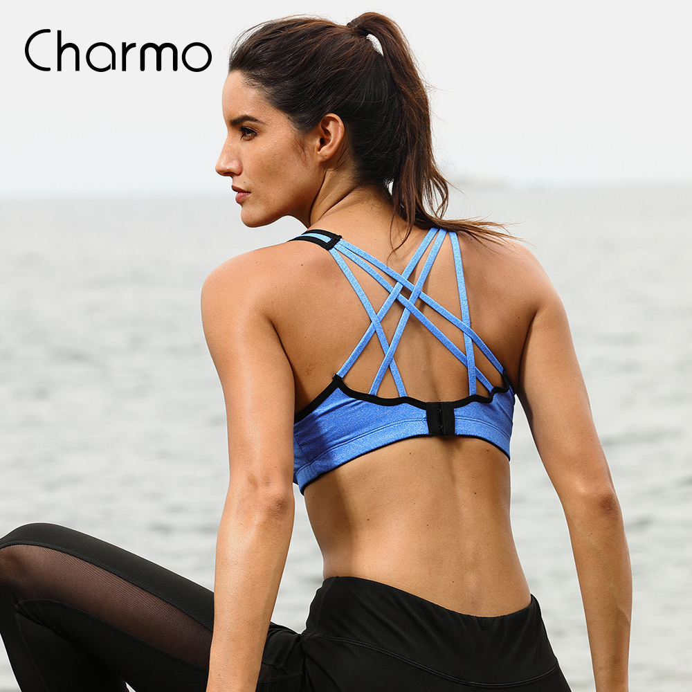 Charmo Women Sports Bra Medium Impact Solid Cross Strap Yoga Padded Running Workout Breathable Sport Top