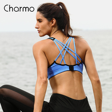 Charmo Women Sports Bra Medium Impact Solid Cross Strap Yoga Bra Women Padded Yoga Bra Running Workout Breathable Sport Top medium impact hanging neck front design drawstring sports bra in grey