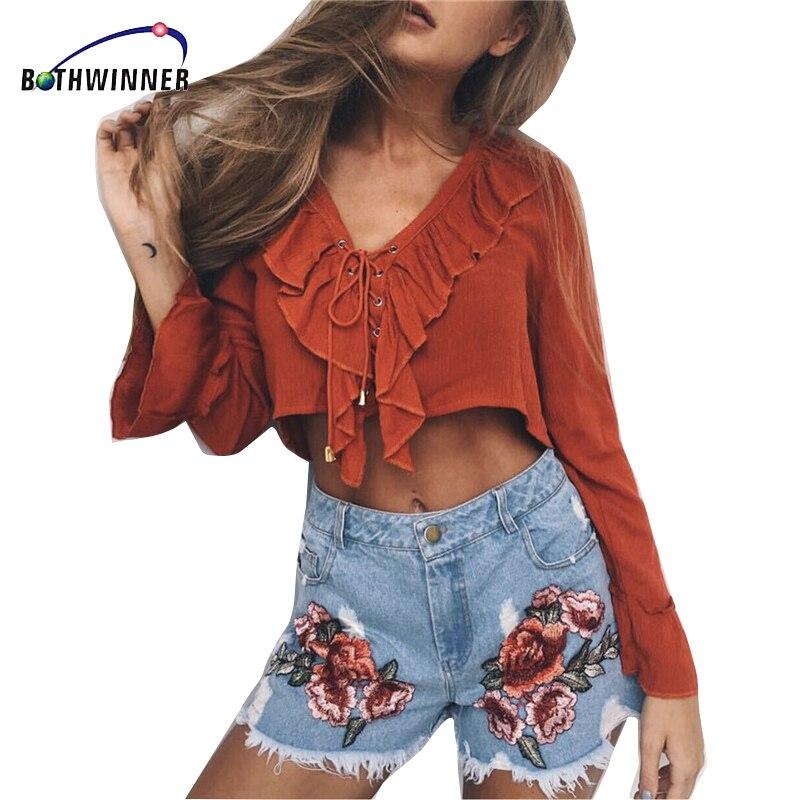 Pantalon Fleur Taille Haute Femmes Short en Jean Mode Casual Denim Short